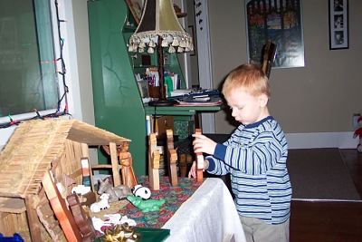 Our son places the Magi into the Navitity scene